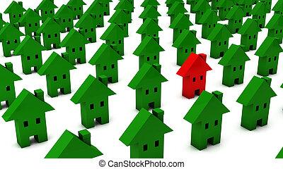 dużo, 3d, czerwona zieleń, jeden, domy