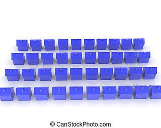 dużo, 3d, przedstawienie, dom, błękitny, ikony