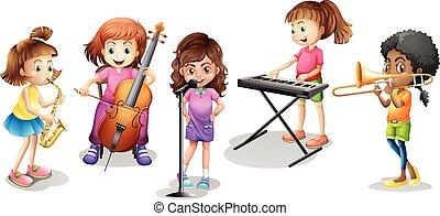 dużo, dzieciaki, interpretacja, różny, muzyczne instrumenty
