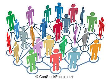 dużo, ludzie, grupa, rozmowa, sieć, towarzyski, media