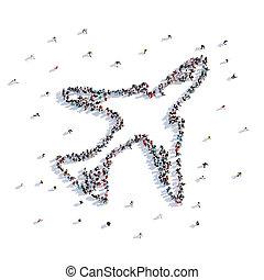 dużo, od, ludzie, kształt, samolot