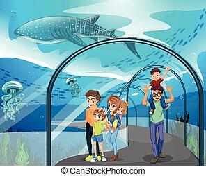 dużo, rodziny, akwarium, odwiedzając