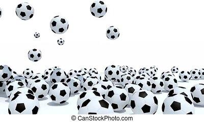 dużo, soccer piłki, upadek, na białym, tło