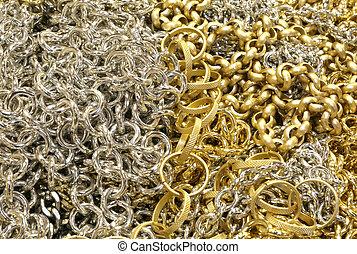 dużo, tworzywo, więzy, srebro, złoty