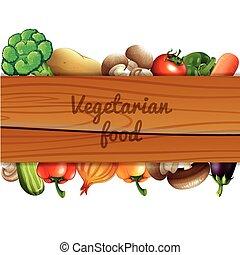 dużo, warzywa, i, drewniany, znak
