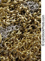 dużo, więzy, tło, złoty, srebro