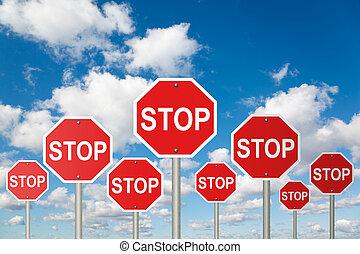 dużo, zatrzymajcie oznakowanie, na białym, puszysty, chmury, w, błękitne niebo, collage