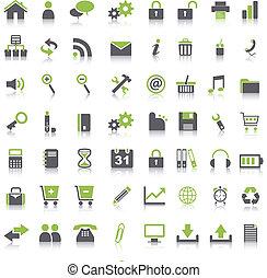 dużo, zielony, ikony