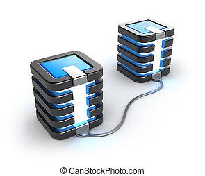 duży komputer, servery, związany