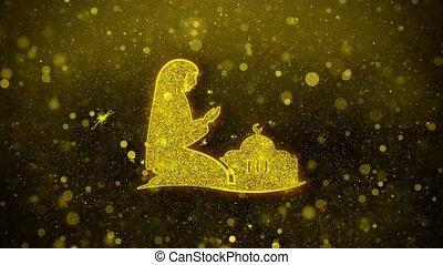 dua, namaz, éclat, icône, scintillement, doré, islamique, prier, particles., islam