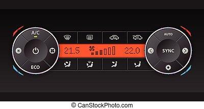 Dual air condition dashboard design - Digital air condition...