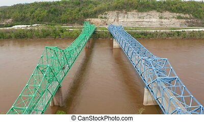 Dual Bridges Carry Highway 60 Traffic both Directions over...