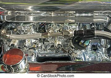 Dual carburetor of a V8 engine