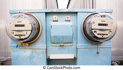 Utility meters outside old analog style