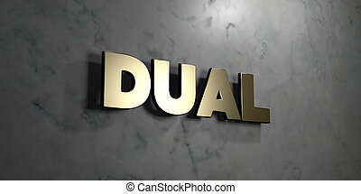 Dual - grungy wooden headline on Maple wall - 3D rendered stock image