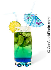 dual-layer cocktail with mint and lime in a tall glass two straws umbrella. Isolation, white bakground, clipping mask