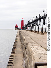 Dual Lighthouses Grand Haven Nautical Markers Lake Michigan...