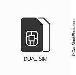Dual SIM icon vector sign