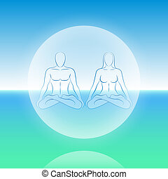 Dual Soul Meditation Sphere - Dual Soul scenery - a male and...