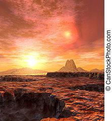 Dual Sun of Kaito 2 - Digital created scifi scenery