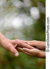 duas mãos, junto, contra