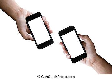 duas mãos, segurando, horizontais, a, pretas, smartphone, com, tela branco, isolado, branco, experiência.