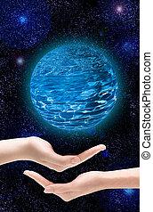 duas mãos, ter, um, planeta, em, a, universo