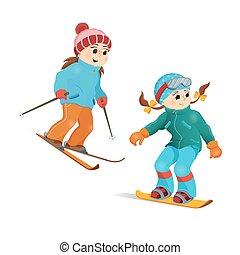 duas meninas, em, morno, roupas, snowboarding, e, esquiando