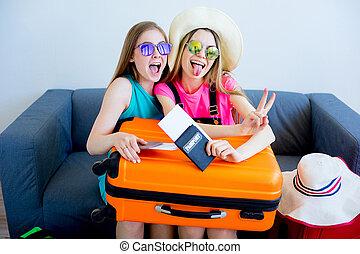 duas meninas, embalagem, malas