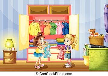 duas meninas, escolher, roupas, de, armário