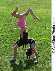 duas meninas, exercitar