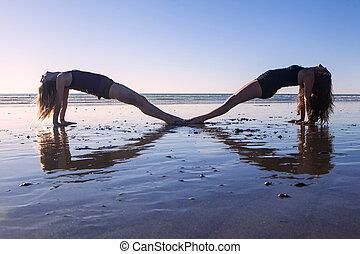duas meninas, fazendo, ioga