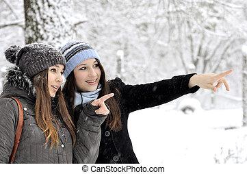 duas meninas, jovem, bonito