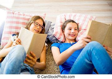 duas meninas, leitura, livros
