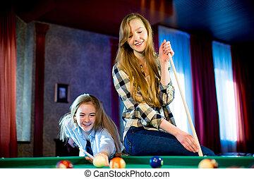 duas meninas, tocando, bilhar