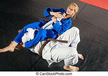 duas mulheres, é, luta, ligado, tatami