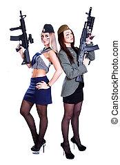 duas mulheres, em, a, marinho, e, a, uniformes militares, com, a, assau