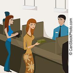 duas mulheres, em, caixas banco
