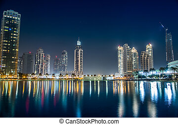 dubaï, unidas, centro cidade, árabe,  Emirates, arquitetura, leste