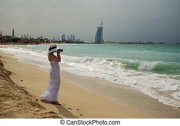 dubai , γυναίκα , παραλία , νέος