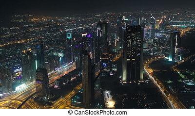 dubai , κάτω στην πόλη , τη νύκτα , με , άστυ αβαρής , από , burj, khalifa, timelapse