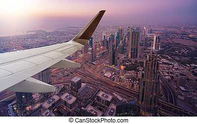 Dubai aerial view from airplane
