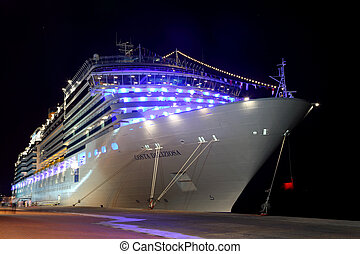DUBAI - APRIL 17: big modern cruise liner Costa Deliziosa - ...