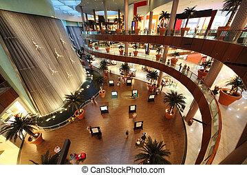 dubai, -, april, 18:, inwendig overzicht, van, dubai, mall, een, van, grootste, mall, in, de wereld, op, april, 18, 2010, in, dubai, verenigd, arabier, emirates.