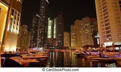 Dubai - AUGUST 7, 2014: Skyscrapers at Dubai Marina on August 7 in Dubai, UAE. Dubai Marina has very high concentration of skyscrapers