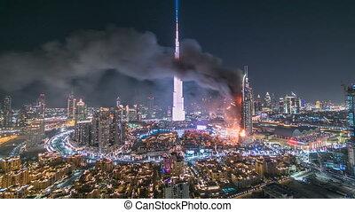 Dubai Burj Khalifa before New Year 2016 fireworks...