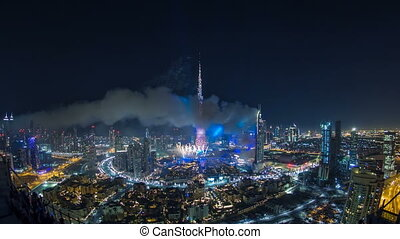 Dubai Burj Khalifa New Year 2016 fireworks celebration...