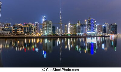 Dubai business bay towers day to night timelapse - Dubai...