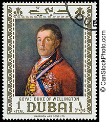 DUBAI - CIRCA 1967: a stamp printed in the Dubai shows Duke...
