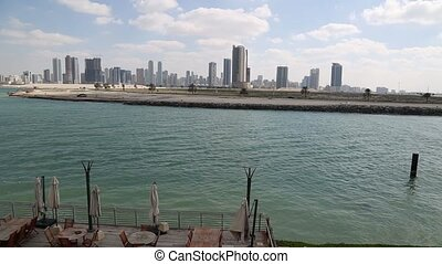 DUBAI - CIRCA 2012: The Dubai Harbor on a Summer day in the...